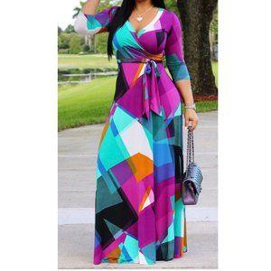 new Faux Wrap Maxi Dress multicolor L